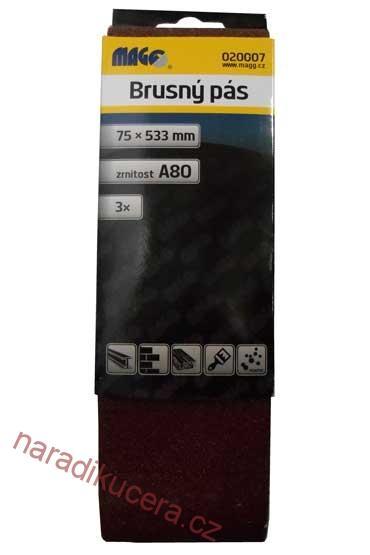 Brusný pás 75x533 zr. 40 bal. 3 ks Magg č. 020005