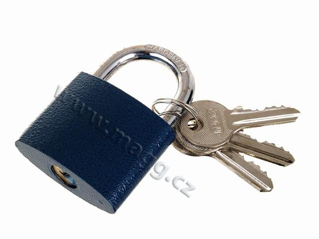 Visací zámek 32mm modrý č.23232