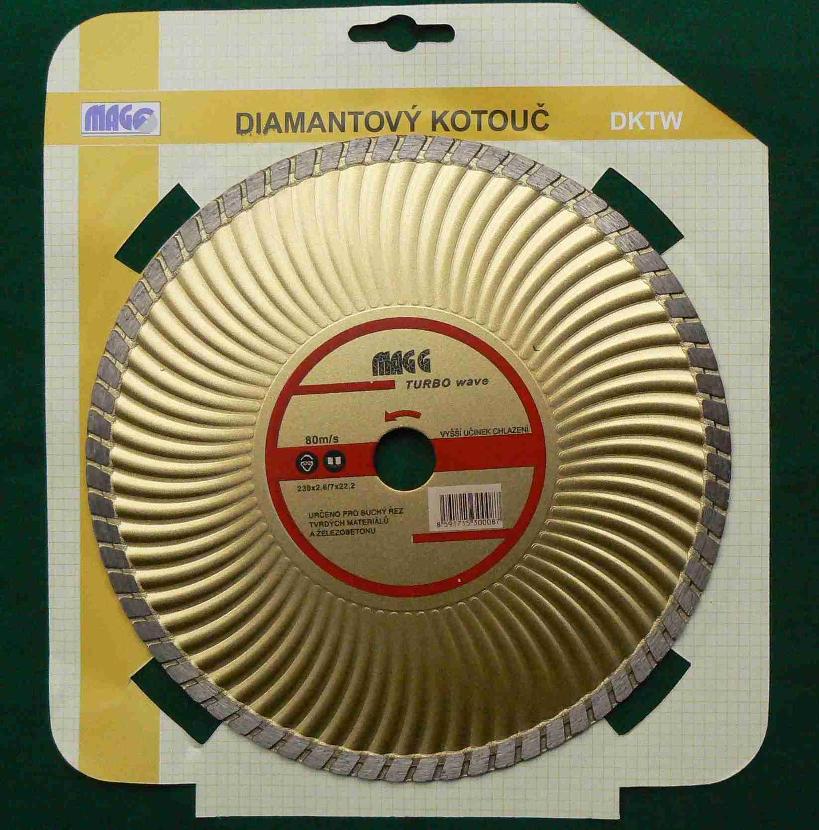 Diamant. kot. DMG DKT-W 230mm TURBO-WAWE zlatý