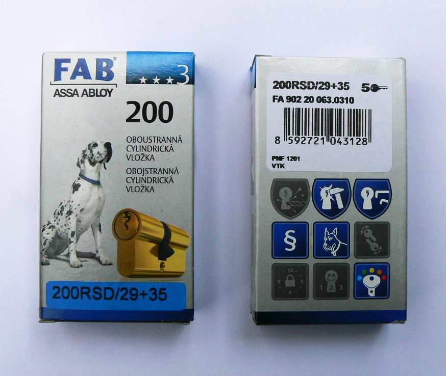 Vložka bezp.FAB 200RSD/29+35 (2018D/29+35 R1 5kl.)