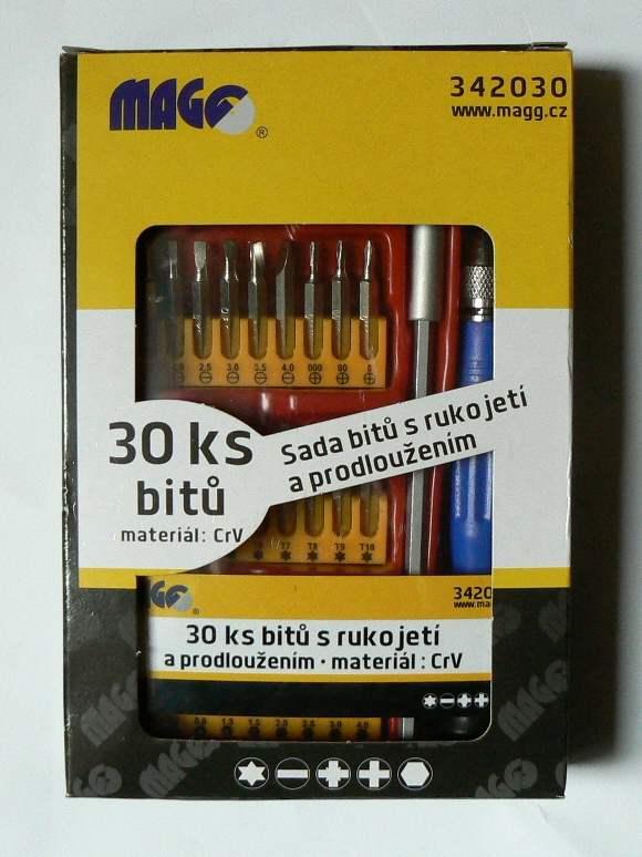 Sada bitů - MAGG 30 dílná č.342030 s rukojetí a prodloužením