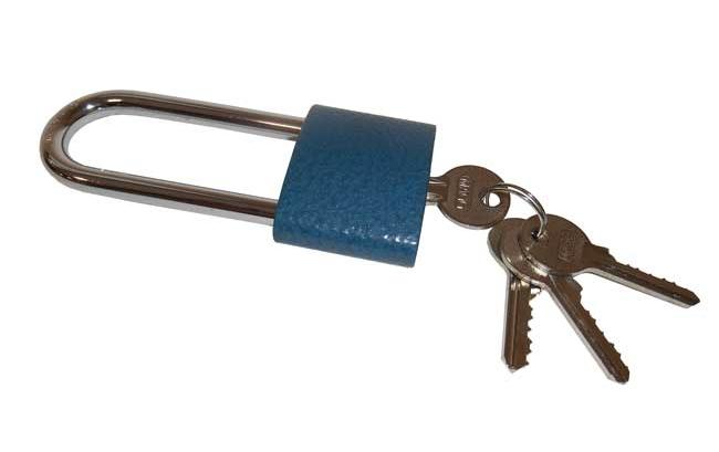 Visací zámek litina 45mm - modrý - prodloužený závěs č. 110009 Magg