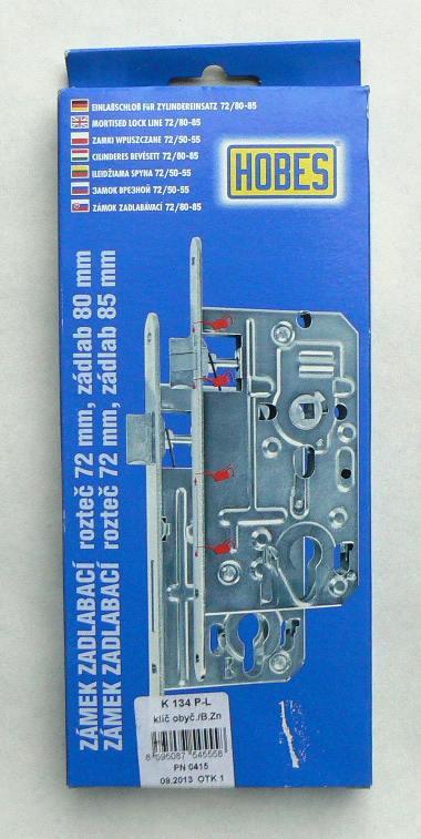 Zámek zadl. K 134 P-L Zn. (72/80, obyč. klíč)
